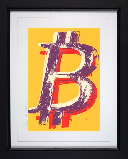 Bitcoin (Yellow) by Mr Brainwash - Framed Limited Edition on Paper